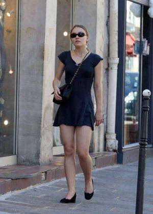 Lily Rose Depp in Mini Dress out in Paris