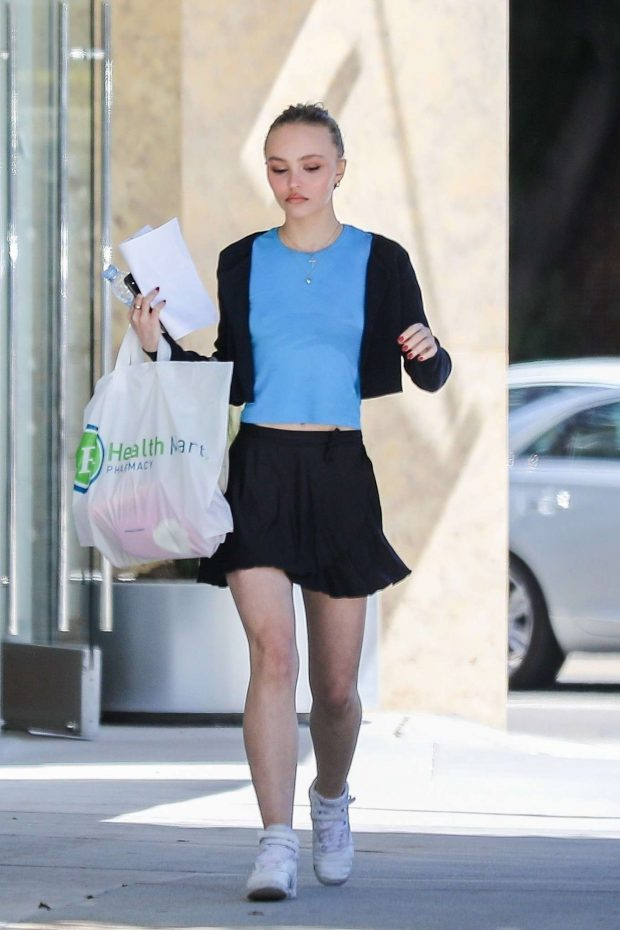 Lily Rose Depp in Mini Skirt - Out in Beverly Hills