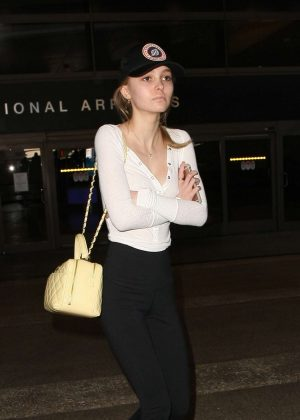 Lily Rose Depp in Tigths at LAX Airport in Los Angeles