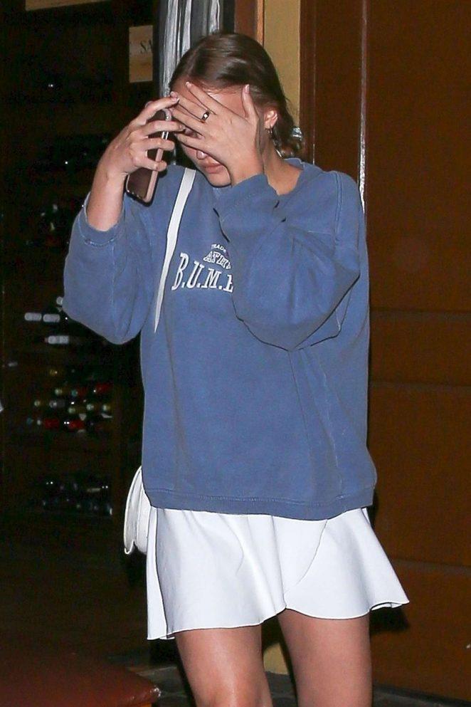Lily Rose Depp in White Tennis Skirt - Leaving Ago Restaurant in Los Angeles