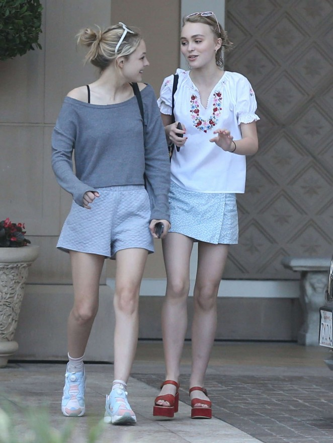 Lily Rose Depp in Mini Skirt -02