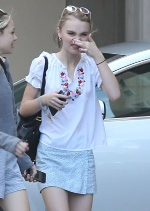 Lily Rose Depp in Mini Skirt Out in Beverly Hills