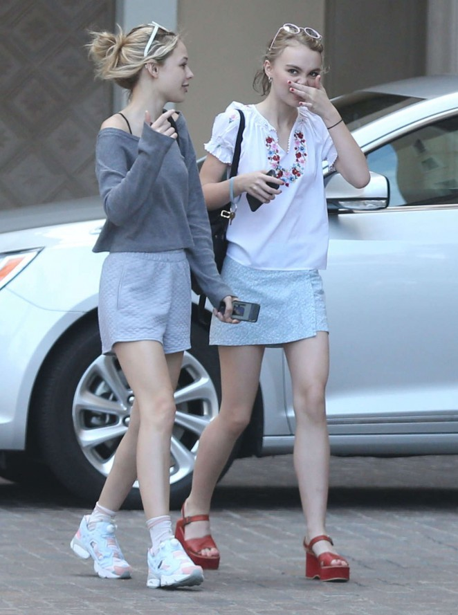 Lily Rose Depp in Mini Skirt -15