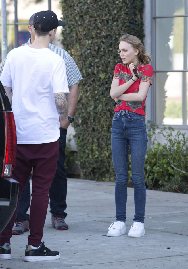 Lily Rose Depp in Jeans and Red Shirt -10
