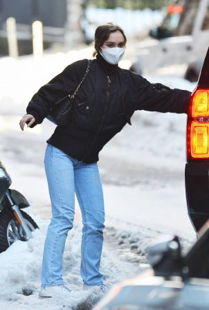 Lily Rose Depp - Out in snowy New York