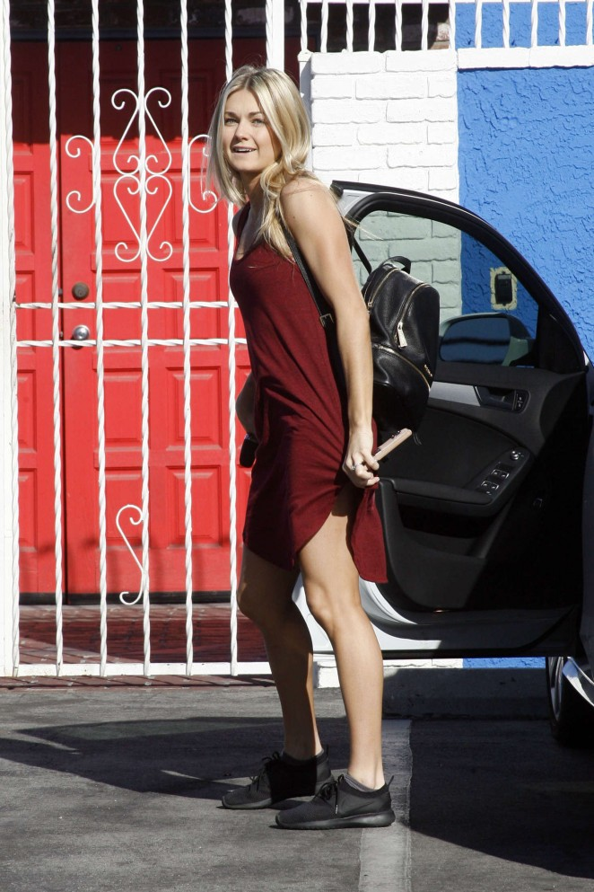 Lindsay Arnold in Red Dress at DWTS Practice in Hollywood