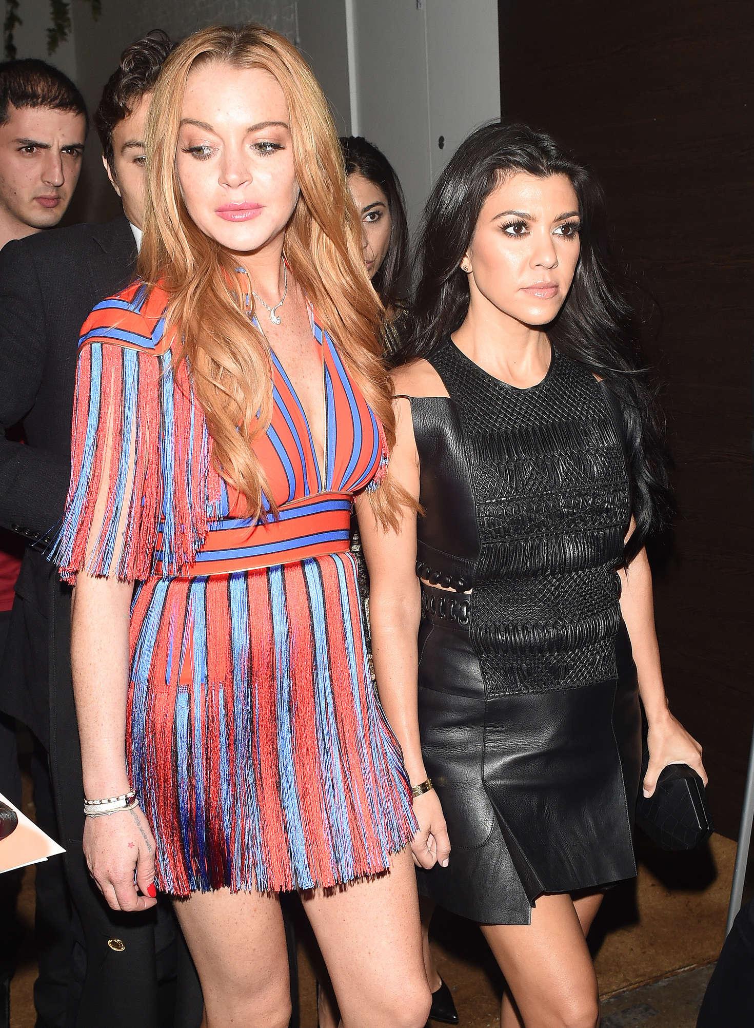 Lindsay Lohan 2016 : Lindsay Lohan and Kourtney Kardashian: Leaving Ours Restaurant -05