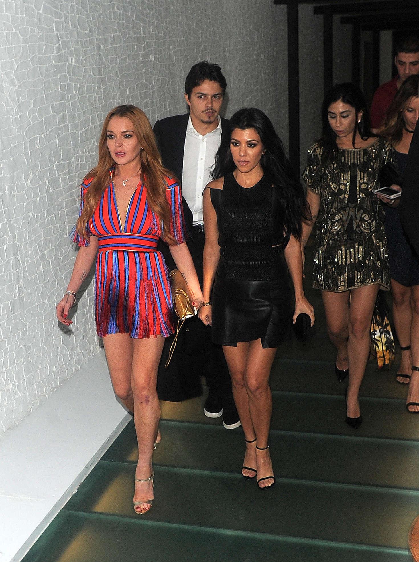 Lindsay Lohan 2016 : Lindsay Lohan and Kourtney Kardashian: Leaving Ours Restaurant -26