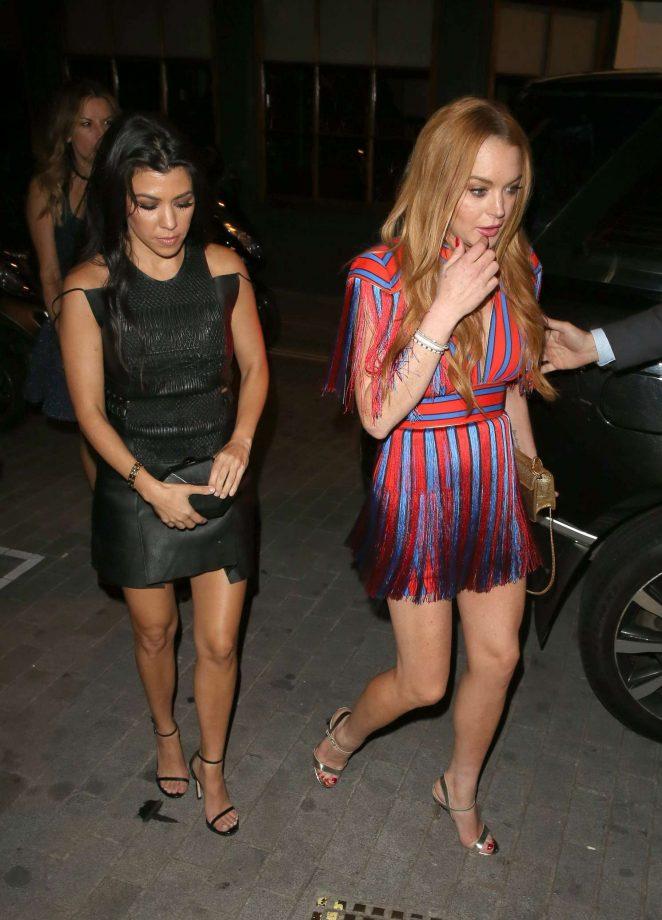 Lindsay Lohan and Kourtney Kardashian: Seen while out in London-11