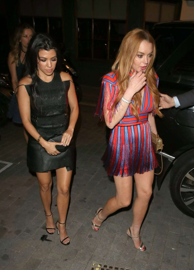 Lindsay Lohan and Kourtney Kardashian: Seen while out in London-20
