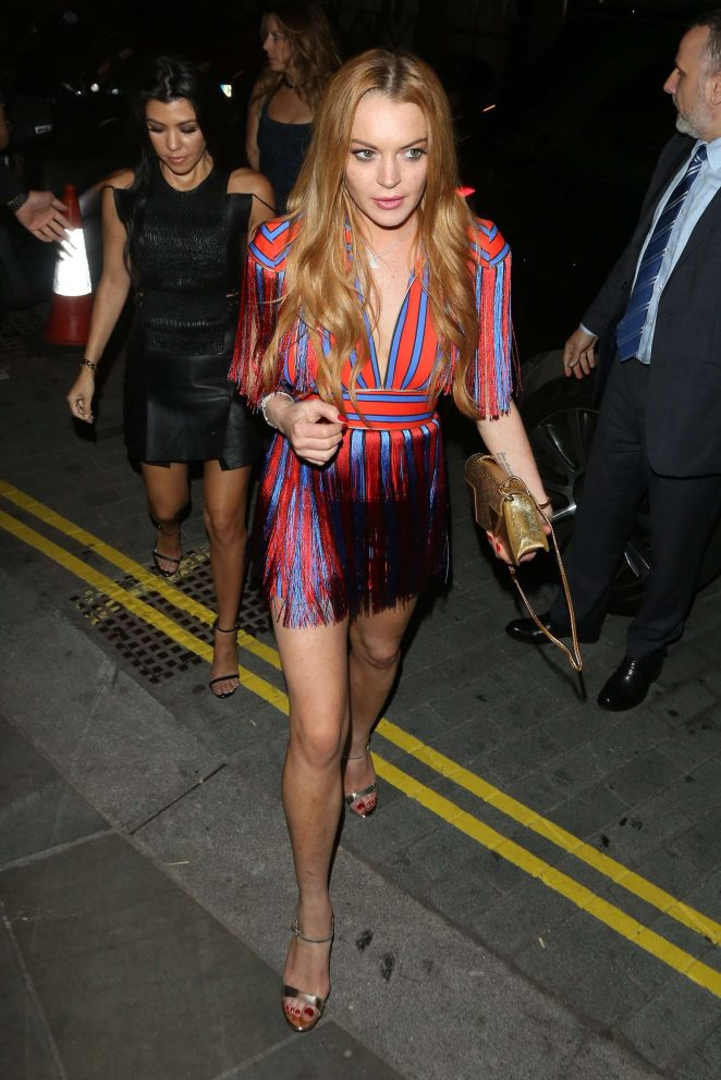 Lindsay Lohan and Kourtney Kardashian: Seen while out in London-46