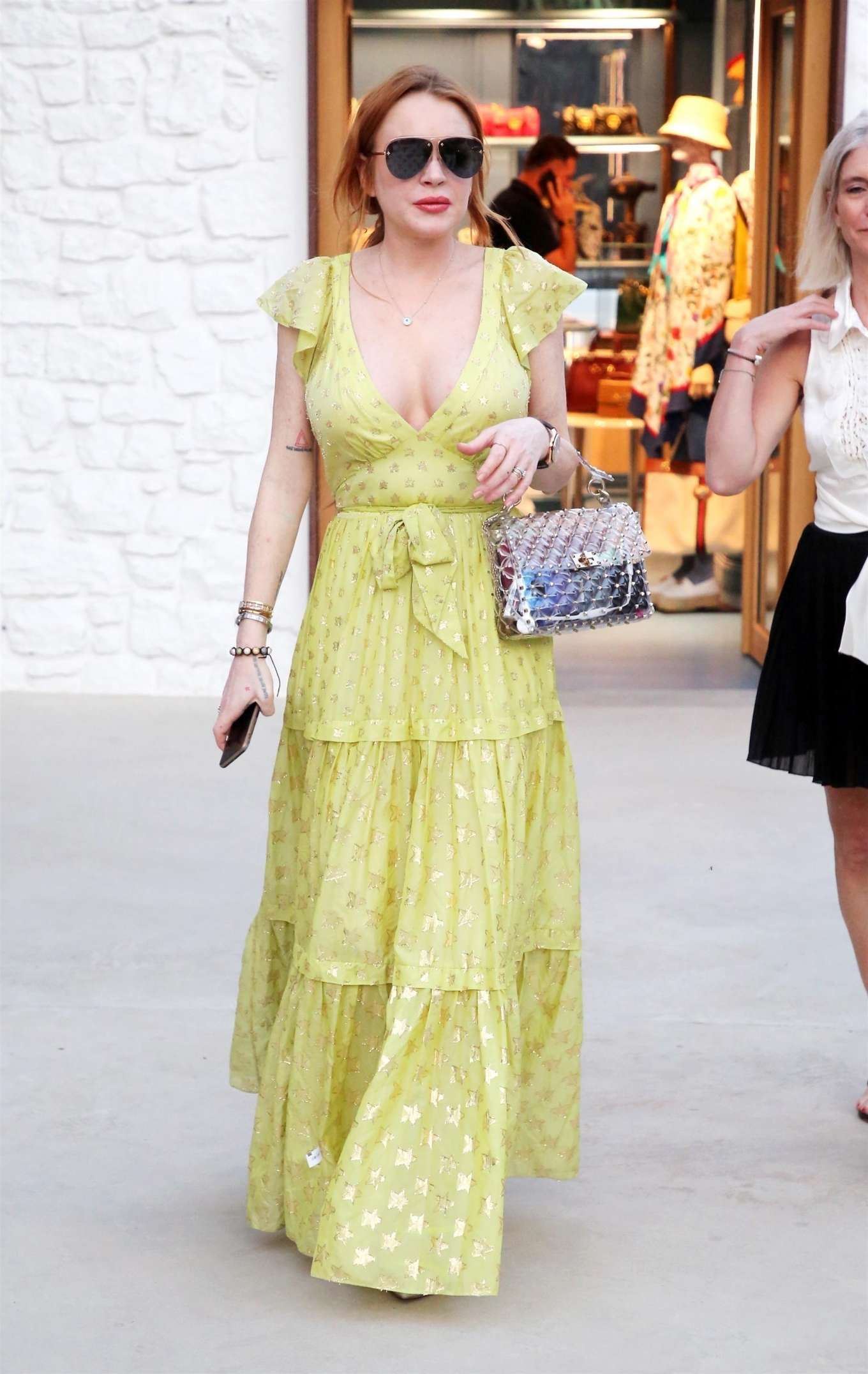 Lindsay Lohan - Arrives at the Philipp Plein Store Opening in Mykonos