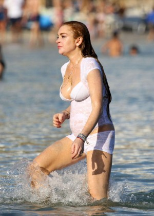 Lindsay Lohan at a beach in Mykonos