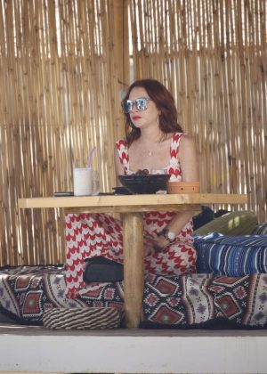 Lindsay Lohan at her beach club in Mykonos