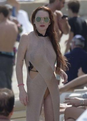 Lindsay Lohan at Kalo Livadi beach club in Mykonos