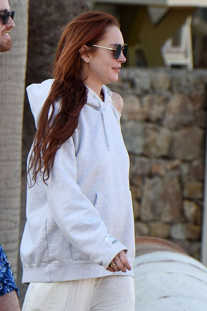Lindsay Lohan at Lohans Beach Club in Mykonos