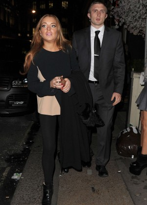 Lindsay Lohan eNight out in Mayfair -01