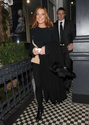 Lindsay Lohan eNight out in Mayfair -02