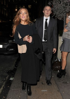 Lindsay Lohan eNight out in Mayfair -04