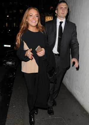Lindsay Lohan eNight out in Mayfair -05