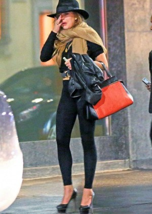 Lindsay Lohan in Leggings out in Milan