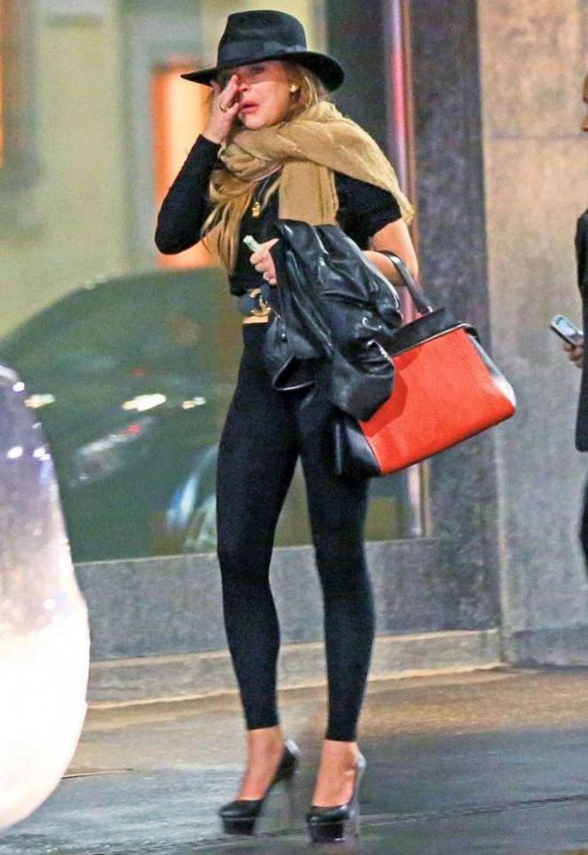 Lindsay Lohan in Leggings out in Milan