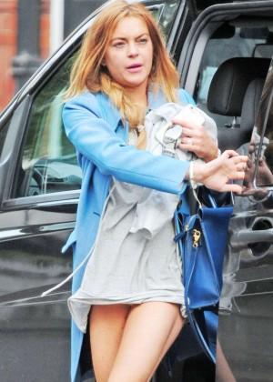 Lindsay Lohan in Mini Dress out in London