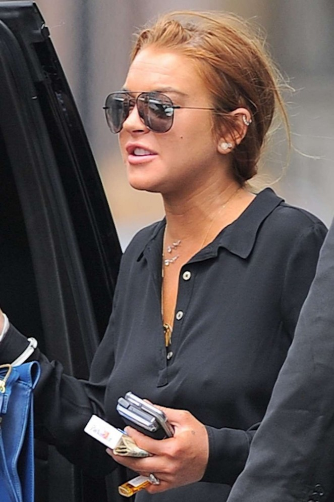 Lindsay Lohan in Mini Skirt Out in New York