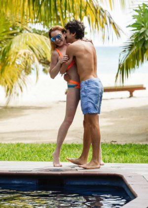 Lindsay Lohan in Orange Bikini 2016 -02