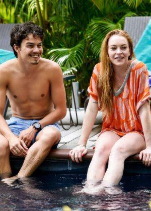 Lindsay Lohan in Orange Bikini 2016 -05
