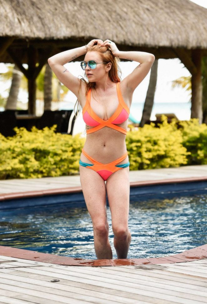 Lindsay Lohan in Orange Bikini in Mauritius