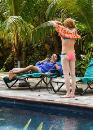 Lindsay Lohan in Orange Bikini 2016 -08