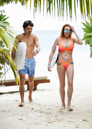 Lindsay Lohan in Orange Bikini 2016 -09