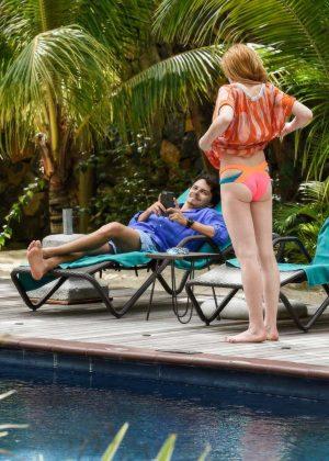 Lindsay Lohan in Orange Bikini 2016 -10