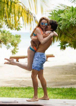 Lindsay Lohan in Orange Bikini 2016 -11