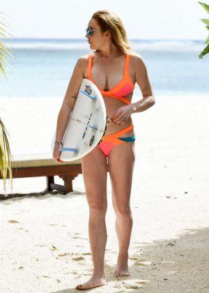 Lindsay Lohan in Orange Bikini 2016 -13
