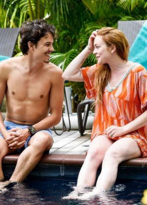 Lindsay Lohan in Orange Bikini 2016 -14