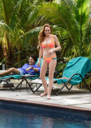 Lindsay Lohan in Orange Bikini 2016 -16