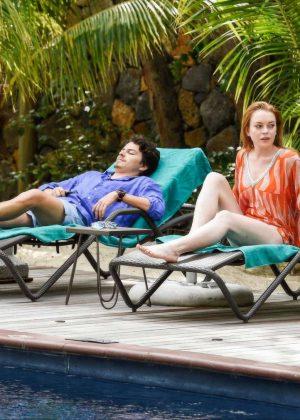 Lindsay Lohan in Orange Bikini 2016 -17