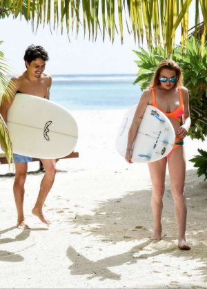 Lindsay Lohan in Orange Bikini 2016 -22