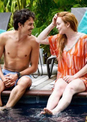 Lindsay Lohan in Orange Bikini 2016 -23