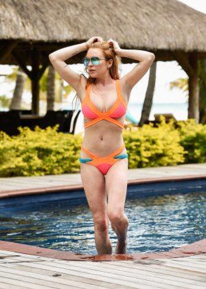 Lindsay Lohan in Orange Bikini 2016 -25