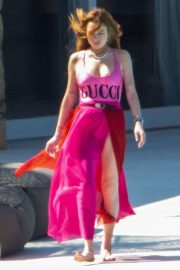 Lindsay Lohan in Pink GUCCI Swimsuit on Mykonos Island