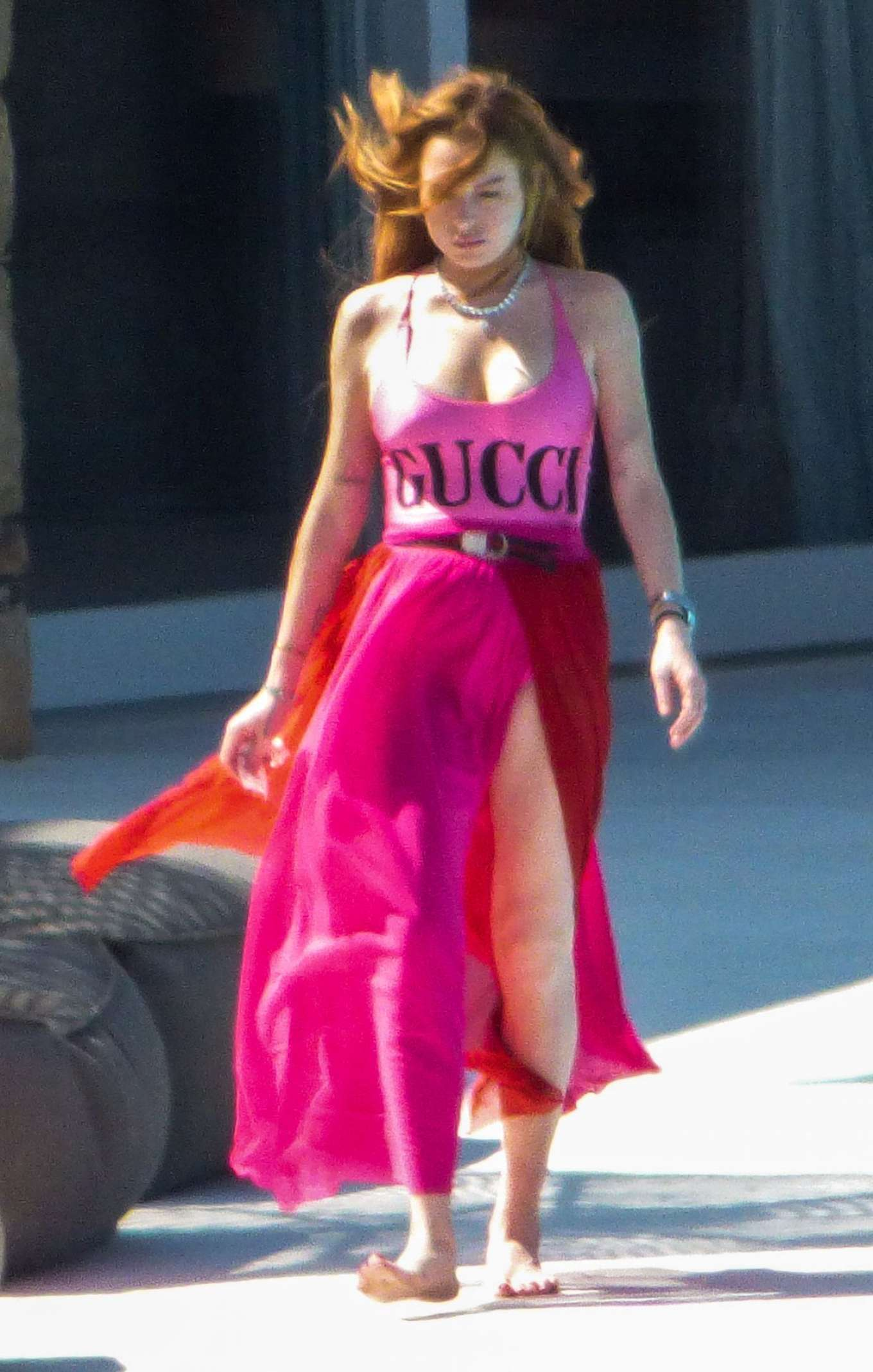 Lindsay Lohan in Pink GUCCI Swimsuit on Mykonos Island