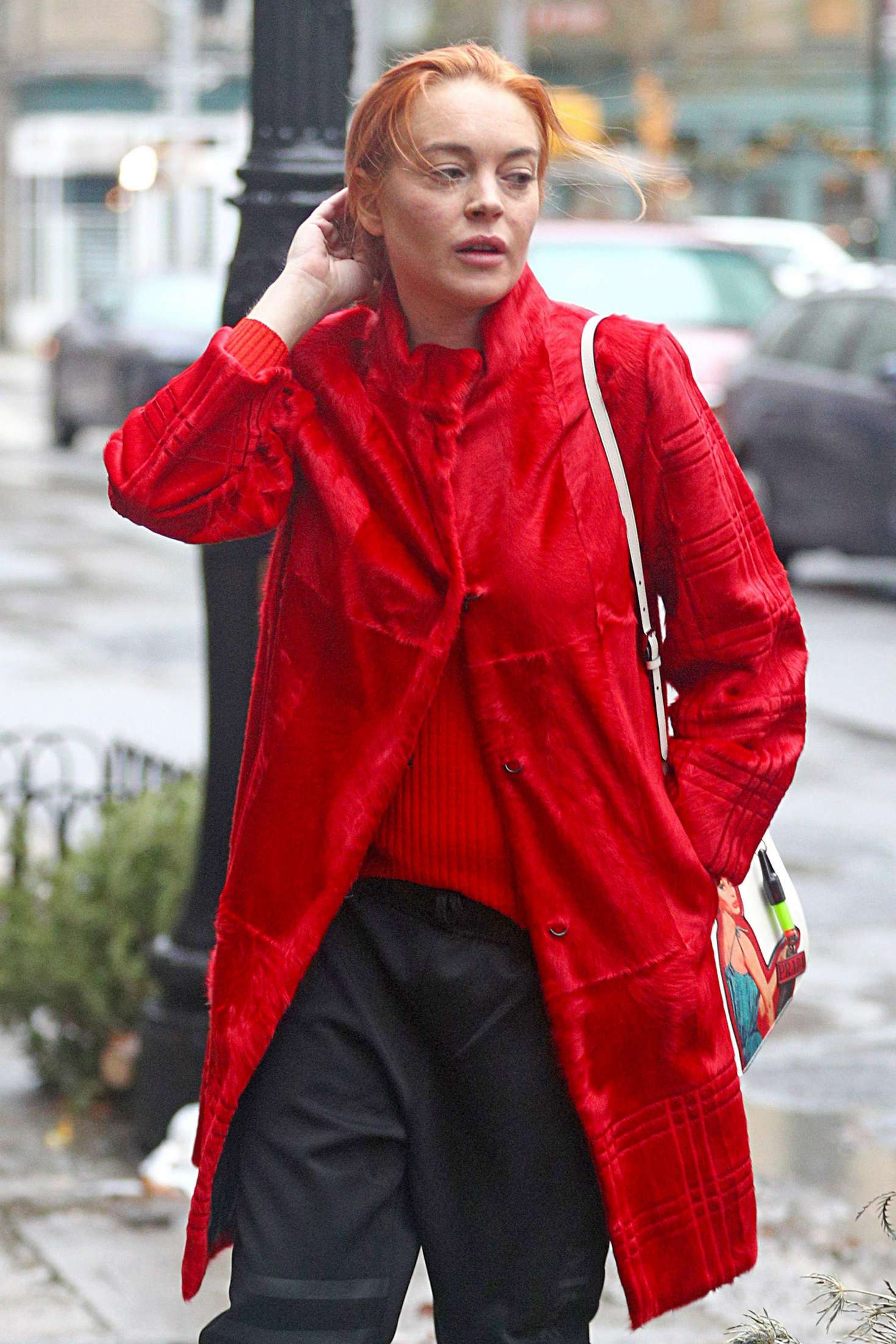 Lindsay Lohan in Red Coat - Out and about in NYC