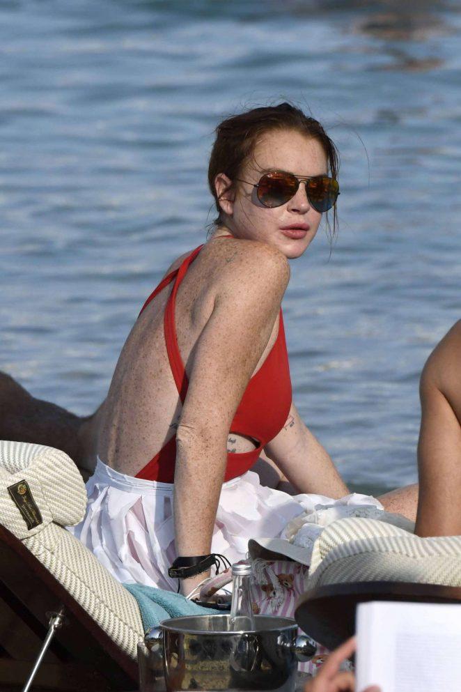 Lindsay Lohan in Red Swimsuit in Mykonos