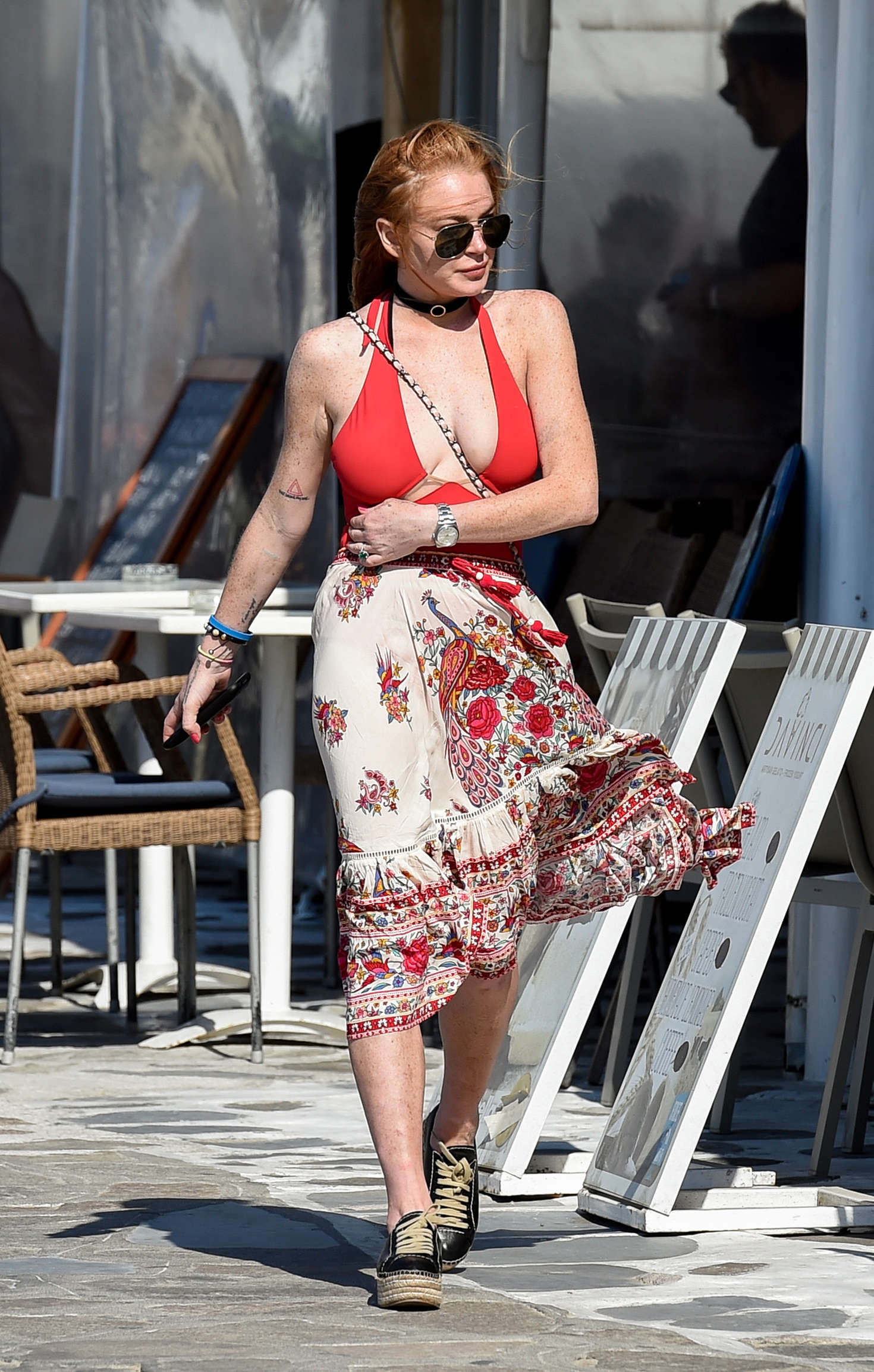 Lindsay Lohan in Summer Skirt out in Mykonos