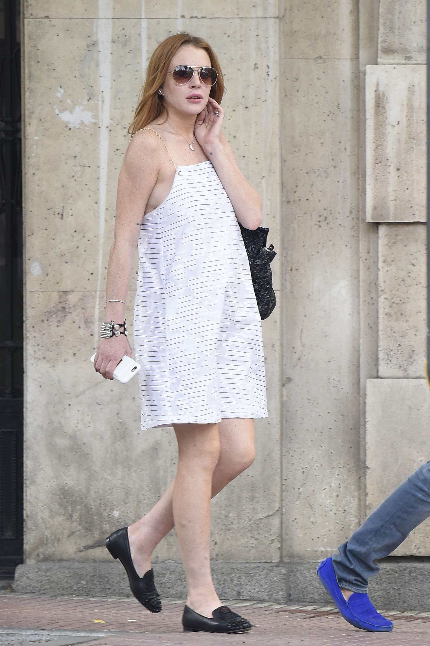 Lindsay Lohan In White Dress Out In Madrid