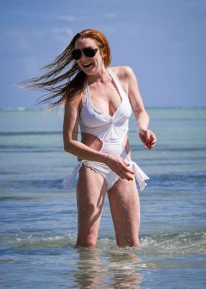 Lindsay Lohan in White Swimsuit on Mauritius Island