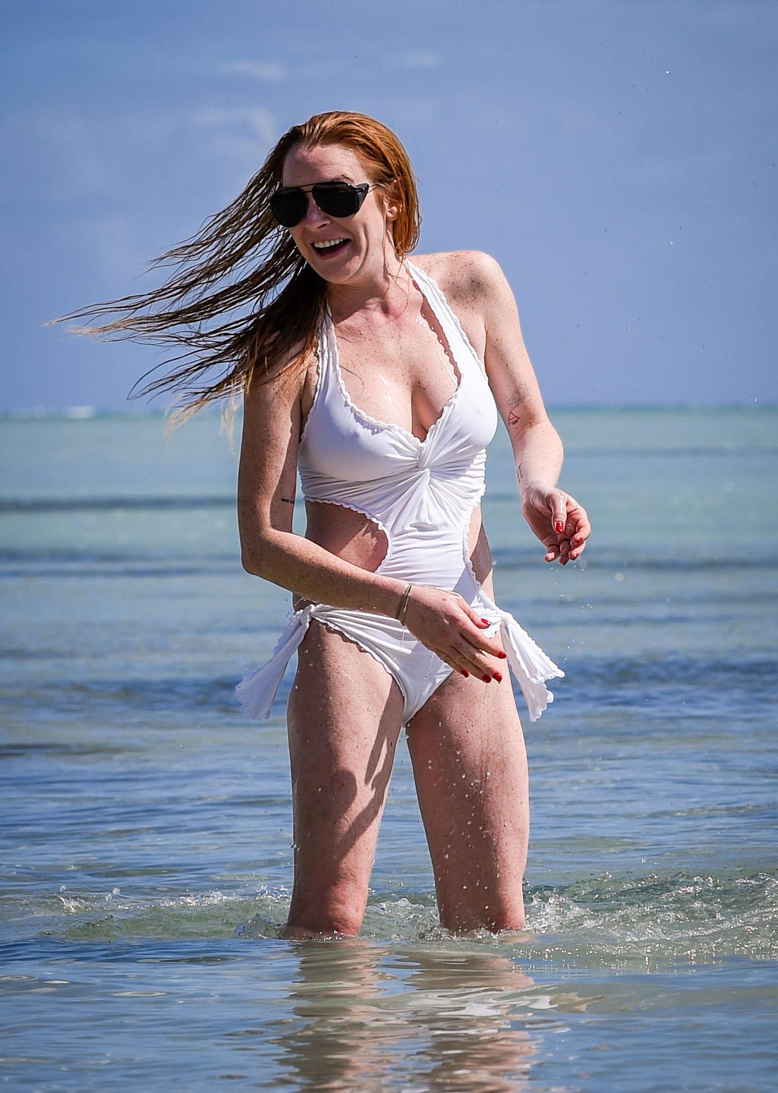 Lindsay Lohan in White Swimsuit on Mauritius Island